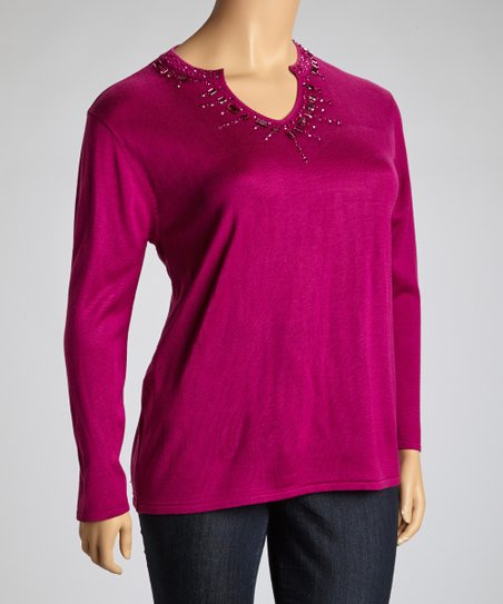 Purple Embellished V-Neck Sweater - Plus