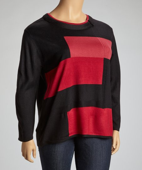 Black & Red Geometric Color Block Sweater - Plus