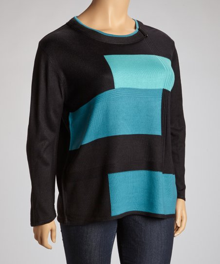 Teal & Black Geometric Color Block Sweater - Plus