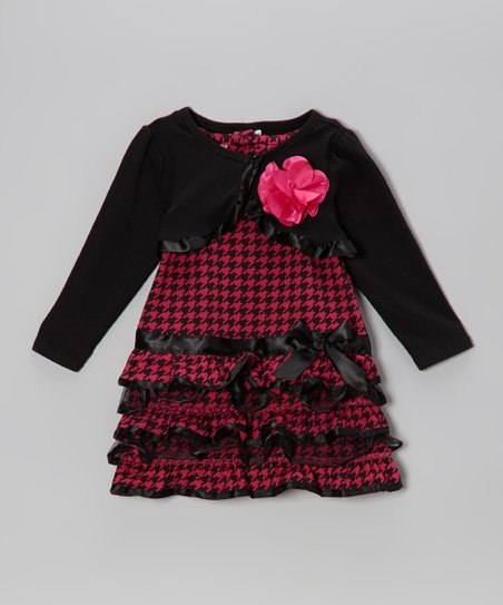Dark Pink Drop-Waist Dress & Shrug - Infant & Toddler