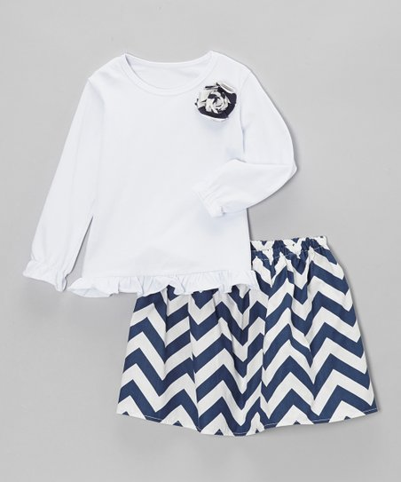 Navy Zigzag Skirt & Shirt - Toddler