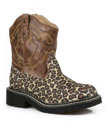 Brown Glitter Leopard Cowboy Boot - Kids