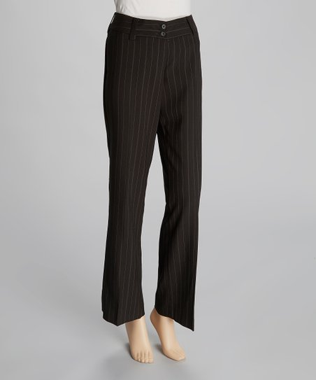Black & White Pinstripe Wide-Leg Pants