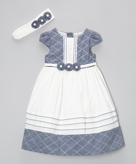 Blue & Ivory Rosette Dress & Headband - Infant