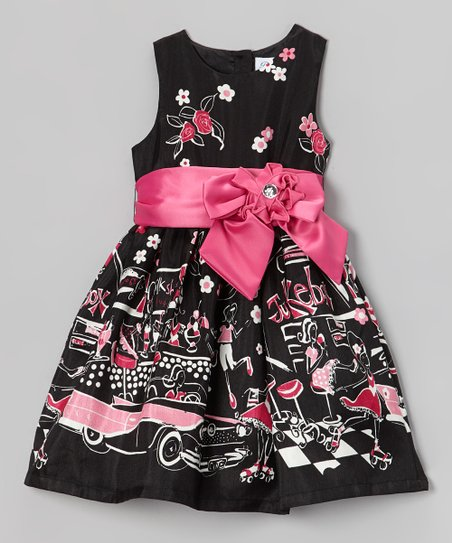 Black Paris Scene Bow Sash Dress - Toddler & Girls