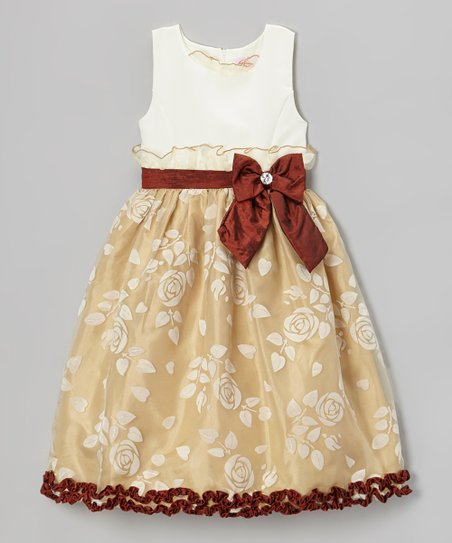 Dark Ivory & Brown Rose Bow Dress - Infant, Toddler & Girls