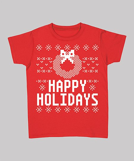 Red 'Happy Holidays' Wreath Short-Sleeve Tee - Women & Plus