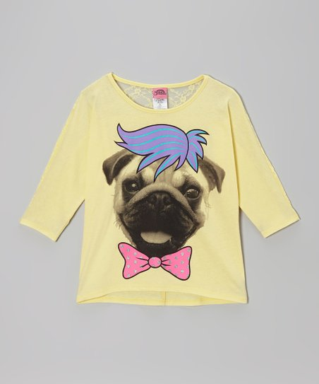 Yellow Pug Hairdo Lace-Back Tee