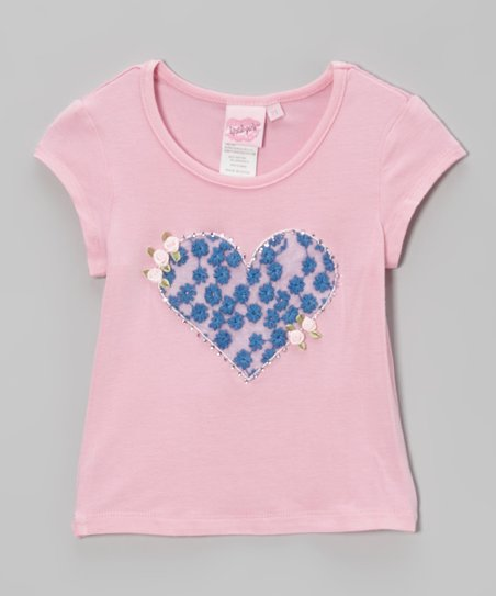 Petal Pink & Blue Bird Rosette Heart Tee - Toddler & Girls