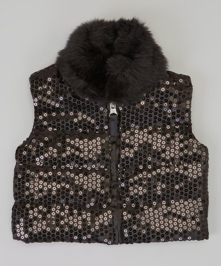 Black Sequin Faux Fur Trim Vest - Infant & Toddler