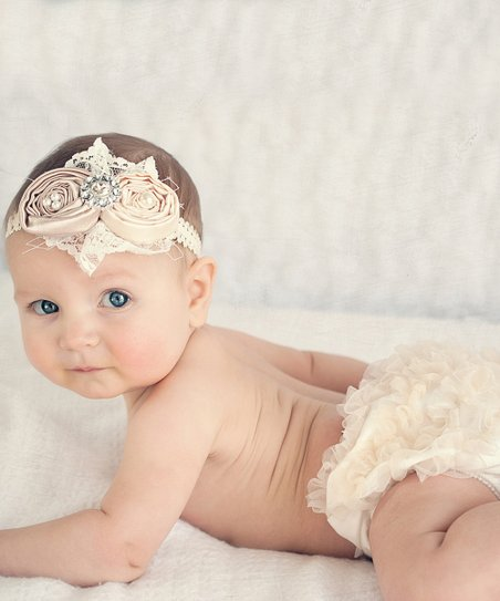 Ivory & Champagne Diaper Cover & Headband - Infant