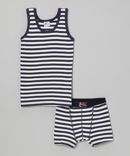 Navy Stripe Tank & Boxer Briefs - Infant, Toddler & Boys