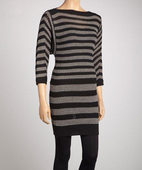 Black & Gray Waffle Knit Sweater Dress