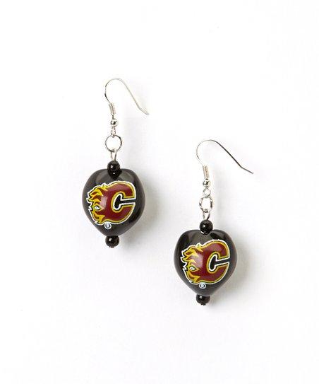 Calgary Flames Kukui Nut Drop Earrings