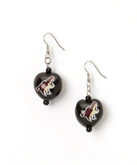 Red & Black Phoenix Coyotes Kukui Nut Drop Earrings