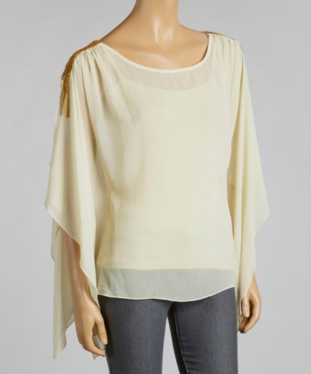 Snow White & Gold Chiffon Cape-Sleeve Top