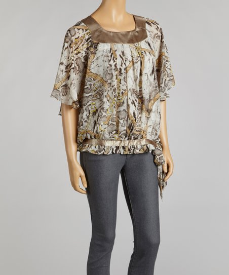 Taupe & Gold Snakeskin Chiffon Cape-Sleeve Top
