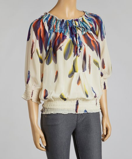 Ivory Feather Chiffon Peasant Top