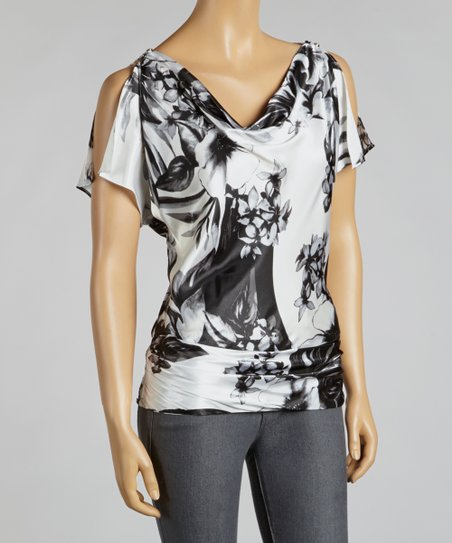 Black & White Floral Drape Top