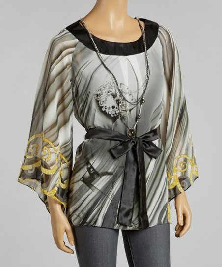 Gray Status Chiffon Cape-Sleeve Top