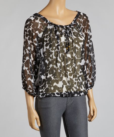 Black & White Floral Chiffon Top
