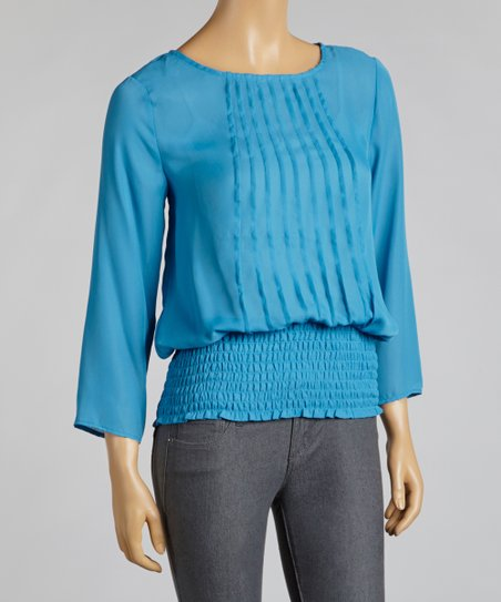 Mykonos Blue Pleat Shirred Layered Top