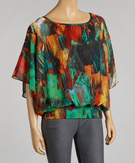 Red & Green Abstract Chiffon Cape-Sleeve Top