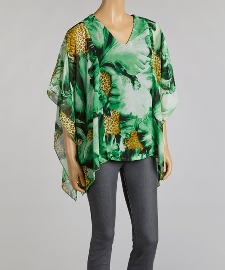 Emerald & Taupe Amazon Chiffon Cape-Sleeve Top