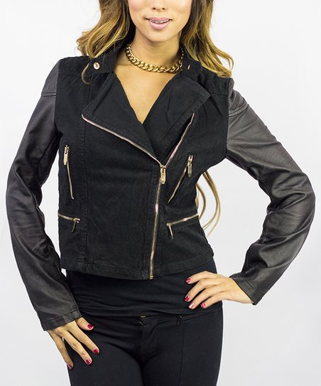 Black Quilted Asymmetrical Zip Jacket