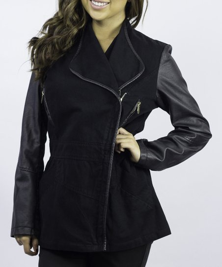 Black Contrast Asymmetrical Zip Jacket