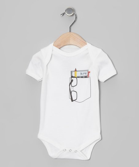 Morado Designs White Pocket Protector Organic Bodysuit - Infant
