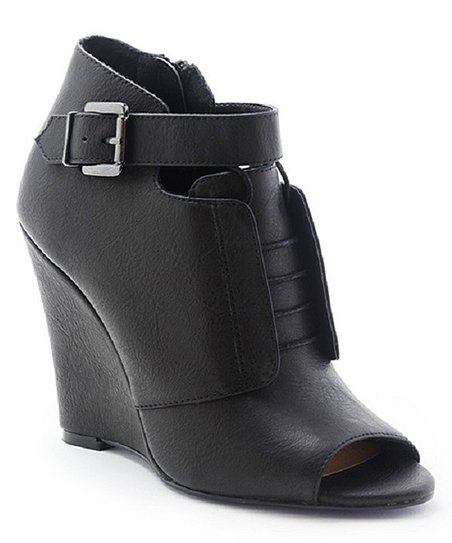 Black Bayle Peep-Toe Wedge Bootie