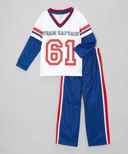White 'Team Captain' Top & Track Pants - Toddler & Boys