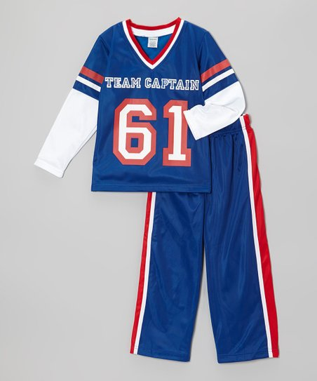 Blue 'Team Captain' Top & Track Pants - Toddler & Boys