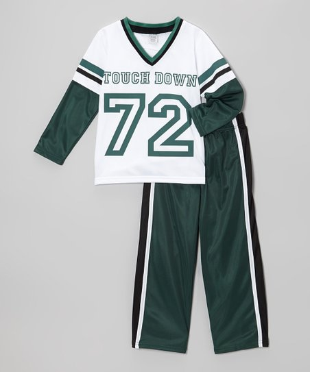 White Touchdown Top & Track Pants - Toddler & Boys