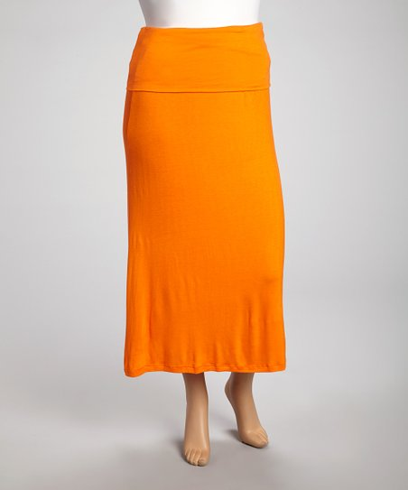Orange Fold-Over Maxi Skirt - Plus