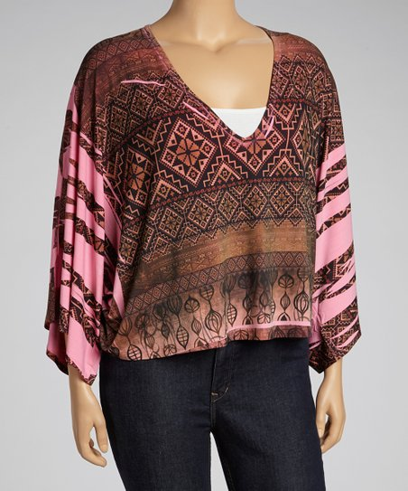 Brown & Pink Tribal Cape-Sleeve Top - Plus