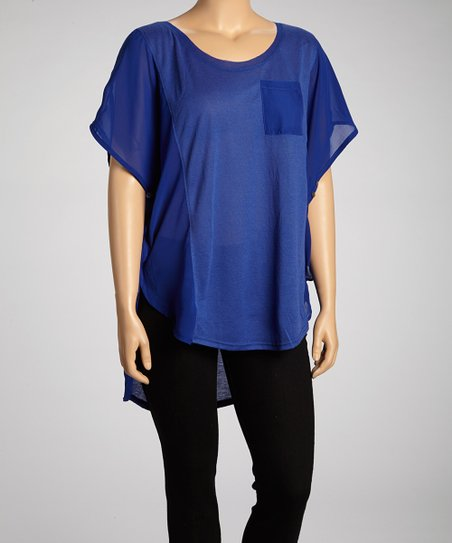 Cobalt Cape-Sleeve Top - Plus