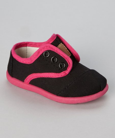 Black & Fuchsia Slip-On Sneaker