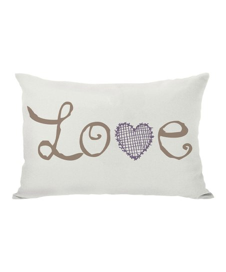Ivory 'Love' Hearts Throw Pillow