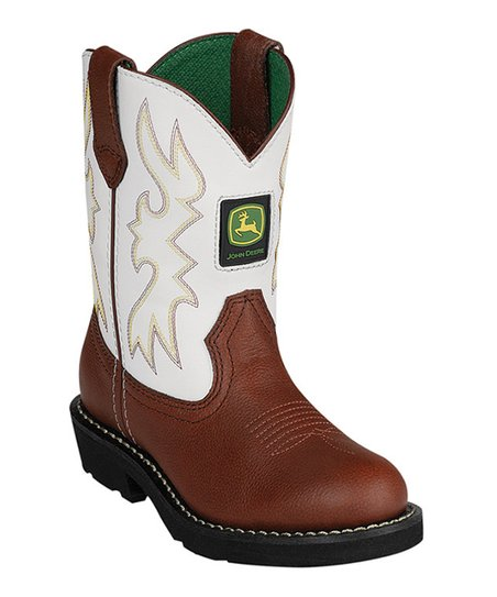 White & Brown Cowboy Boot - Kids