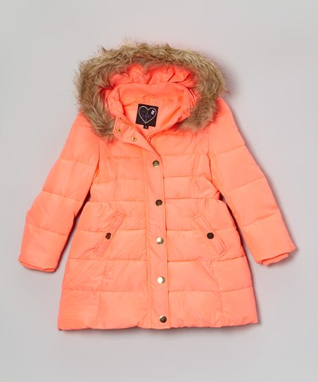 Hot Coral Puffer Coat - Girls