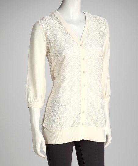 Ivory Lace Front Cardigan - Women