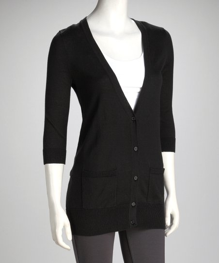 Black Boyfriend Cardigan - Women