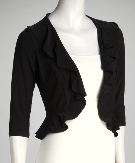 Black Ruffle Bolero - Women