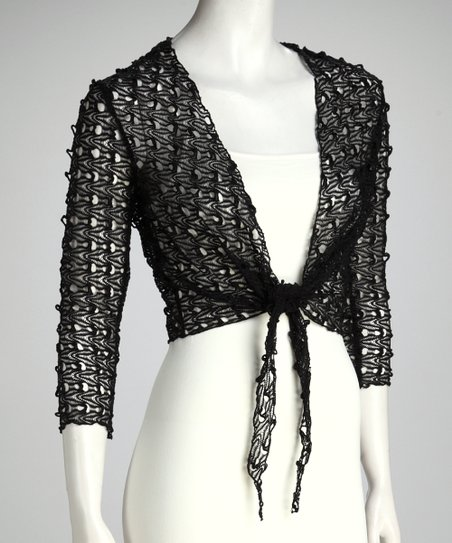 Black Knit Tie-Front Bolero - Women