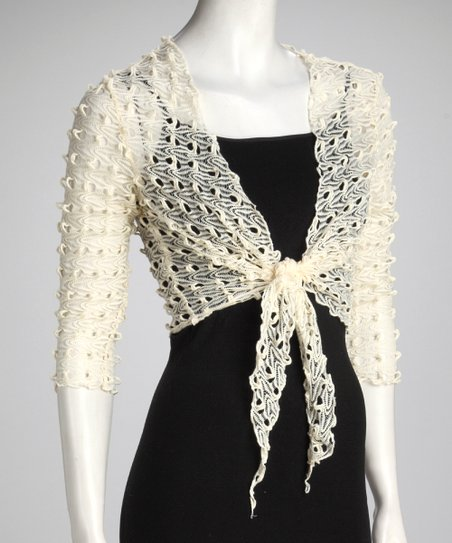 Ivory Knit Tie-Front Bolero - Women