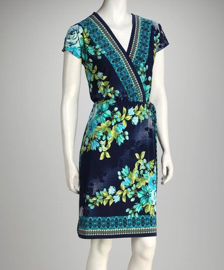Blue Floral Surplice Dress - Women