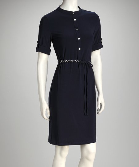 Navy Chain Belt Shirtdress - Women