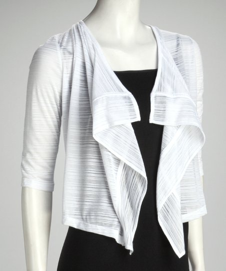 White Sheer Drape Neck Open Cardigan - Women